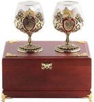 Подарочный набор c 2-мя бокалами для коньяка в деревянной шкатулке. Юбилей 65 лет и Настоящий мужчина