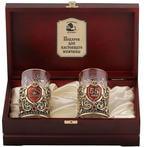 Подарочный набор c 2-мя подстаканниками в деревянной шкатулке (4 предмета). Юбилей 55 лет и Настоящий мужчина