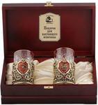 Подарочный набор c 2-мя подстаканниками в деревянной шкатулке (4 предмета). Юбилей 50 лет и Настоящий мужчина