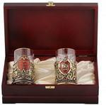 Подарочный набор c 2-мя подстаканниками в деревянной шкатулке (4 предмета). Юбилей 60 лет и Мудрый руководитель