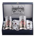 Подарочный набор c 2-мя подстаканниками в шкатулке (6 предметов). Герб РФ и Спасская башня