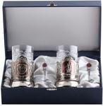 Подарочный набор c 2-мя подстаканниками в шкатулке (6 предметов). Герб СССР и Рабочий и колхозница