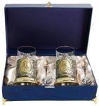 Подарочный набор c 2-мя подстаканниками в шкатулке (6 предметов). Пётр и Екатерина