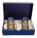 Подарочный набор c 2-мя подстаканниками в шкатулке (6 предметов). Славься Отечество и Герб России