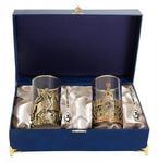 Подарочный набор c 2-мя подстаканниками в шкатулке (6 предметов). Славься Отечество и Георгий Победоносец