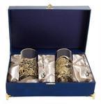Подарочный набор c 2-мя подстаканниками в шкатулке (6 предметов). Охота на уток и Судак