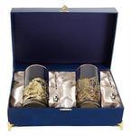 Подарочный набор c 2-мя подстаканниками в шкатулке (6 предметов). Охота на кабана и Охота на волка
