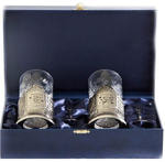 Подарочный набор c 2-мя подстаканниками в шкатулке (6 предметов). Золотой дедушка и Золотая бабушка