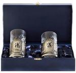 Подарочный набор c 2-мя подстаканниками в шкатулке (6 предметов). Золотой папа и Золотая мама
