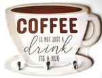 Винтажная деревянная ретро табличка с крючками. Кофе - это не просто напиток (30 x 40 см)