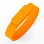Подарочная силиконовая флешка. Браслет (цвет оранжевый)