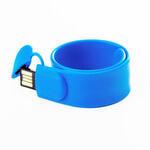 Подарочная силиконовая флешка. Браслет SLAP (цвет синий)