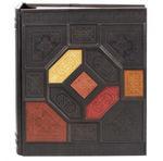 Подарочный большой фотоальбом из натуральной кожи. Мозаика | Коричневый