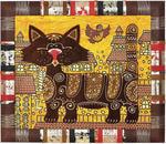 Панно декоративное большое из натуральной кожи. Кот