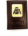 Кожаная обложка на паспорт. Строителю | Коричневый