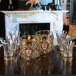 Подарочный набор с 2-мя бокалами для виски в деревянной шкатулке (8 предметов). Юбилейный 70 лет