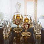 Подарочный набор с 2-мя бокалами для коньяка в деревянной шкатулке (8 предметов). Юбилейный 70 лет