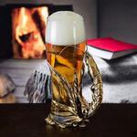 Подарочный бокал для пива в деревянной шкатулке. Креветка