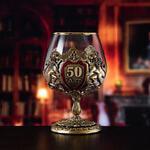 Подарочный бокал для коньяка в деревянной шкатулке. Юбилей 50 лет