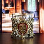 Подарочный набор с бокалом и камнями для виски в деревянной шкатулке. Юбилей75лет