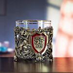 Подарочный набор с бокалом и камнями для виски в деревянной шкатулке. Юбилей55лет