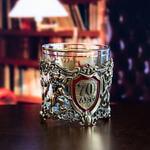 Подарочный набор с бокалом и камнями для виски в деревянной шкатулке. Юбилей70лет