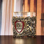Подарочный набор с бокалом и камнями для виски в деревянной шкатулке. Юбилей65лет