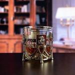 Подарочный набор с бокалом и камнями для виски в деревянной шкатулке. Георгий Победоносец