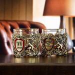 Подарочный набор с 2-мя бокалами и камнями для виски в деревянной шкатулке. Настоящий Мужчина и Юбилей 70 лет