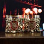 Подарочный набор с 2-мя бокалами и камнями для виски в деревянной шкатулке. Настоящий Мужчина и Юбилей 65 лет