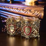Подарочный набор с 2-мя бокалами и камнями для виски в деревянной шкатулке. Настоящий Мужчина и Юбилей 55 лет