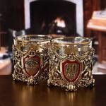 Подарочный набор с 2-мя бокалами и камнями для виски в деревянной шкатулке. Настоящий Мужчина и Юбилей 50 лет