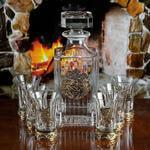 Подарочный набор для водки в деревянной шкатулке (7 предметов). Охотничий