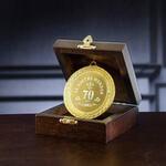 Подарочная медаль в деревянной шкатулке. За взятие юбилея 70 лет