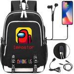 Рюкзак с USB-портом для зарядки и разъемом для наушников. Among Us. Красный герой