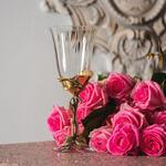 Бокал для вина (латунь/стекло) в подарочной коробке. Роза