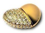 Подарочная металлическая флешка. Сердце (цвет - золото)
