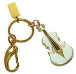 Подарочная металлическая флешка-брелок. Скрипка. Цвет белый