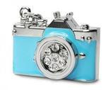 Подарочная металлическая флешка. Фотоаппарат со стразами. Цвет голубой