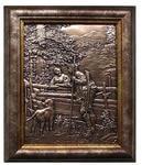 """Картина из металла """"Охотник с собакой"""" (21 х 26 см)"""
