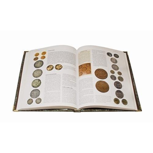 Подарочная книга в кожаном переплете. Монеты. Большая энциклопедия (фото, вид 1)