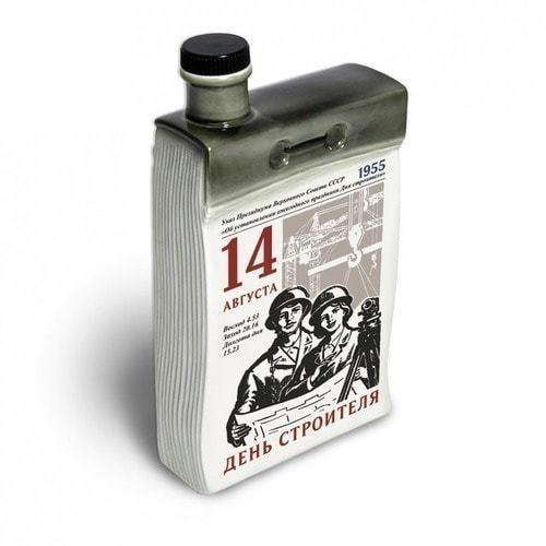 """Подарочный набор с фарфоровым штофом """"Календарь строителя"""" (фото, вид 1)"""