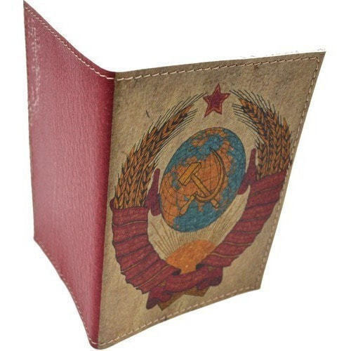 Кожаная обложка на паспорт. Герб СССР (фото, вид 9)