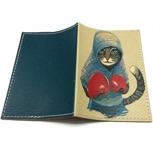 Кожаная обложка на паспорт. Кот-боксер (фото, вид 1)