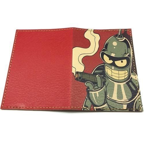 Кожаная обложка на паспорт. Футурама. Робот Блендер (фото, вид 1)
