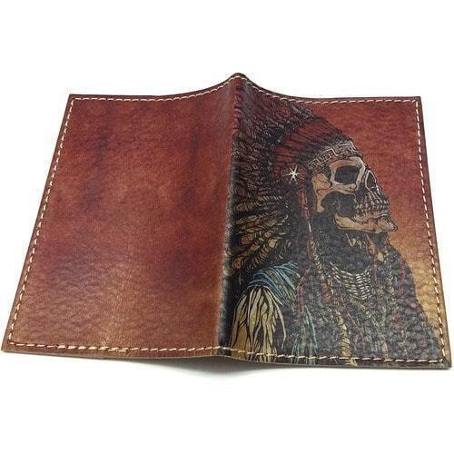 Кожаная обложка на паспорт. Индеец (фото, вид 1)