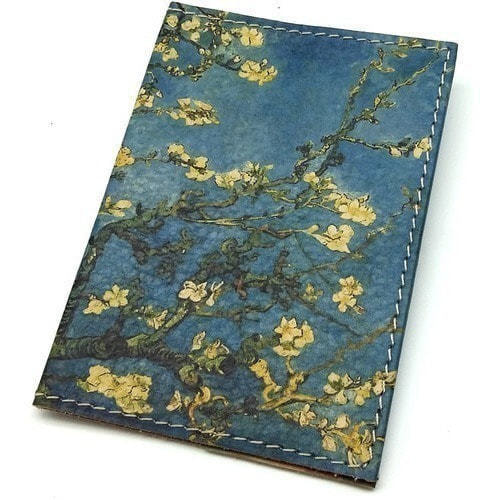 "Кожаная обложка на паспорт. Ван Гог ""Цветущие ветки миндаля"" (фото, вид 1)"