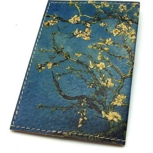 "Кожаная обложка на паспорт. Ван Гог ""Цветущие ветки миндаля"" (фото, вид 2)"