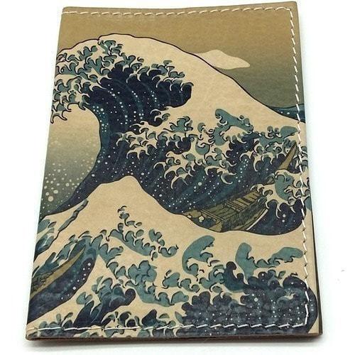 Кожаная обложка на паспорт. Большая волна в Канагаве (фото, вид 1)