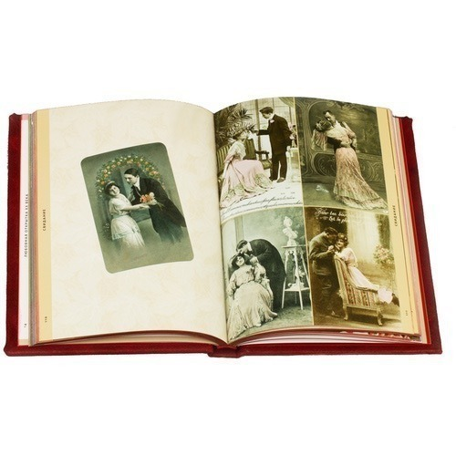 Подарочная книга в кожаном переплете. Любовные открытки 20 века (фото, вид 7)